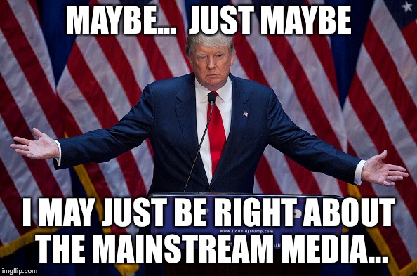 Donald Trump | MAYBE...  JUST MAYBE I MAY JUST BE RIGHT ABOUT THE MAINSTREAM MEDIA... | image tagged in donald trump | made w/ Imgflip meme maker