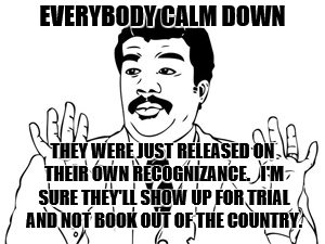Neil deGrasse Tyson Meme | EVERYBODY CALM DOWN THEY WERE JUST RELEASED ON THEIR OWN RECOGNIZANCE.   I'M SURE THEY'LL SHOW UP FOR TRIAL AND NOT BOOK OUT OF THE COUNTRY. | image tagged in memes,neil degrasse tyson | made w/ Imgflip meme maker
