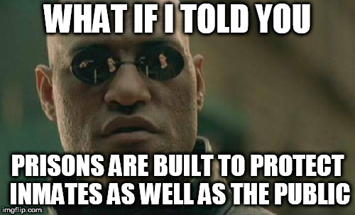 Matrix Morpheus | WHAT IF I TOLD YOU PRISONS ARE BUILT TO PROTECT INMATES AS WELL AS THE PUBLIC | image tagged in memes,matrix morpheus,prison,prisons,protection,protect | made w/ Imgflip meme maker