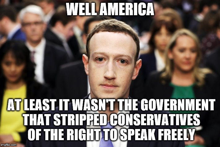 Mark Zuckerberg |  WELL AMERICA; AT LEAST IT WASN'T THE GOVERNMENT THAT STRIPPED CONSERVATIVES OF THE RIGHT TO SPEAK FREELY | image tagged in mark zuckerberg | made w/ Imgflip meme maker