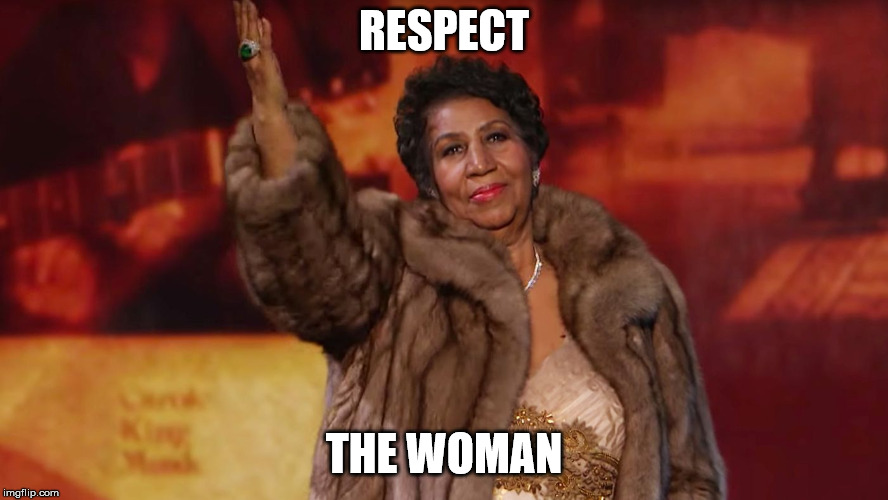 Aretha | RESPECT THE WOMAN | image tagged in aretha | made w/ Imgflip meme maker