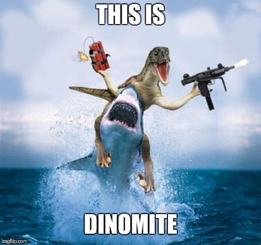 Dinosaur Riding Shark | THIS IS DINOMITE | image tagged in dinosaur riding shark | made w/ Imgflip meme maker