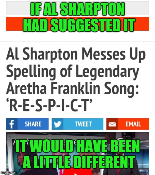 IF AL SHARPTON HAD SUGGESTED IT IT WOULD HAVE BEEN A LITTLE DIFFERENT | made w/ Imgflip meme maker