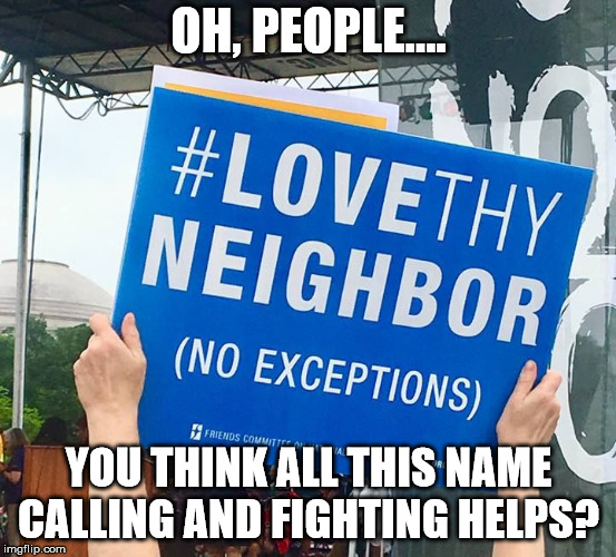 Love Thy Neighbor | OH, PEOPLE.... YOU THINK ALL THIS NAME CALLING AND FIGHTING HELPS? | image tagged in love thy neighbor | made w/ Imgflip meme maker