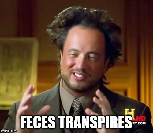 Ancient Aliens Meme | FECES TRANSPIRES | image tagged in memes,ancient aliens | made w/ Imgflip meme maker