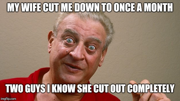 Rodney Dangerfield | MY WIFE CUT ME DOWN TO ONCE A MONTH TWO GUYS I KNOW SHE CUT OUT COMPLETELY | image tagged in rodney dangerfield | made w/ Imgflip meme maker