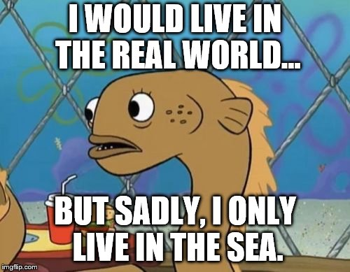 Sadly I Am Only An Eel |  I WOULD LIVE IN THE REAL WORLD... BUT SADLY, I ONLY LIVE IN THE SEA. | image tagged in memes,sadly i am only an eel | made w/ Imgflip meme maker