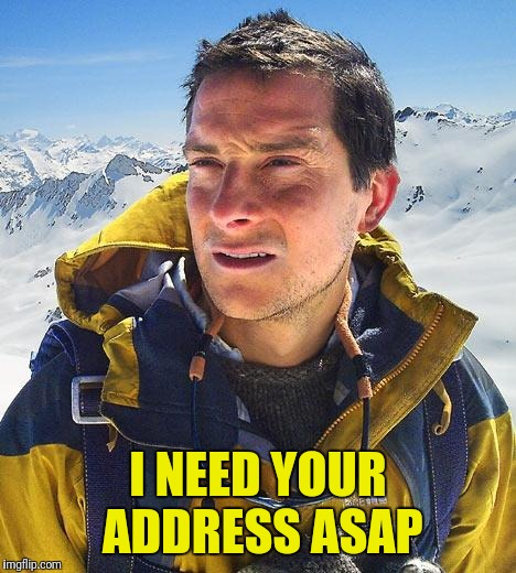Bear Grylls Meme | I NEED YOUR ADDRESS ASAP | image tagged in memes,bear grylls | made w/ Imgflip meme maker