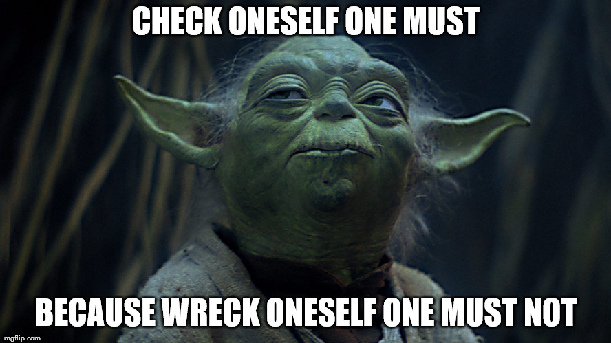 Check oneself one must, because wreck yourself one must not. | CHECK ONESELF ONE MUST BECAUSE WRECK ONESELF ONE MUST NOT | image tagged in check yourself before you wreck yourself,yoda,funny,starwars,party hard,party | made w/ Imgflip meme maker