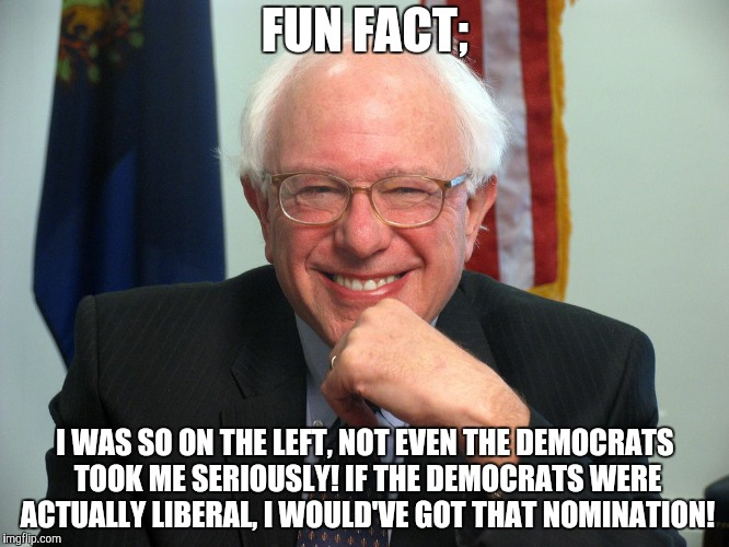 Vote Bernie Sanders | FUN FACT; I WAS SO ON THE LEFT, NOT EVEN THE DEMOCRATS TOOK ME SERIOUSLY! IF THE DEMOCRATS WERE ACTUALLY LIBERAL, I WOULD'VE GOT THAT NOMINA | image tagged in vote bernie sanders | made w/ Imgflip meme maker