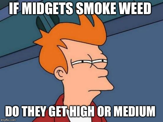 Futurama Fry | IF MIDGETS SMOKE WEED DO THEY GET HIGH OR MEDIUM | image tagged in memes,futurama fry | made w/ Imgflip meme maker