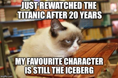 Grumpy Cat Table Meme |  JUST REWATCHED THE TITANIC AFTER 20 YEARS; MY FAVOURITE CHARACTER IS STILL THE ICEBERG | image tagged in memes,grumpy cat table,grumpy cat,titanic | made w/ Imgflip meme maker