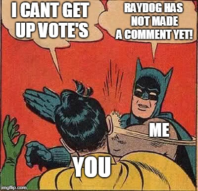 Batman Slapping Robin |  RAYDOG HAS NOT MADE A COMMENT YET! I CANT GET UP VOTE'S; ME; YOU | image tagged in memes,batman slapping robin | made w/ Imgflip meme maker