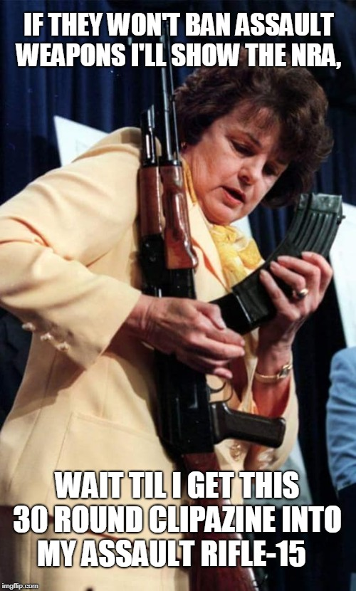They've done it now, Dianne Feinstein is angry  | IF THEY WON'T BAN ASSAULT WEAPONS I'LL SHOW THE NRA, WAIT TIL I GET THIS 30 ROUND CLIPAZINE INTO MY ASSAULT RIFLE-15 | image tagged in dianne feinstein,assault weapons,gun ban,nra,ar15,memes | made w/ Imgflip meme maker