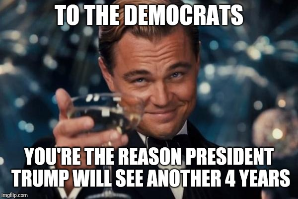 Leonardo Dicaprio Cheers Meme | TO THE DEMOCRATS YOU'RE THE REASON PRESIDENT TRUMP WILL SEE ANOTHER 4 YEARS | image tagged in memes,leonardo dicaprio cheers | made w/ Imgflip meme maker