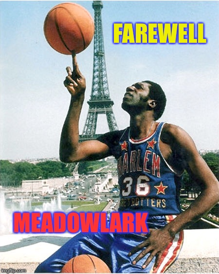 Harlem Globetrotter | FAREWELL MEADOWLARK | image tagged in basketball,stunts,funny,guy,rest in peace | made w/ Imgflip meme maker