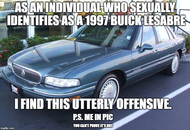 AS AN INDIVIDUAL WHO SEXUALLY IDENTIFIES AS A 1997 BUICK LESABRE I FIND THIS UTTERLY OFFENSIVE. P.S. ME IN PIC YOU CAN'T PROVE IT'S NOT | made w/ Imgflip meme maker