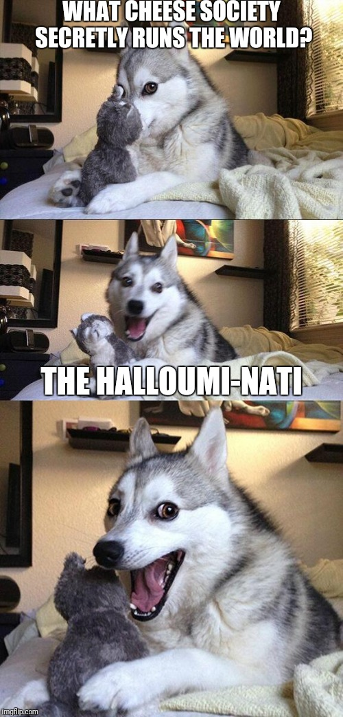 Halloumi-nati | WHAT CHEESE SOCIETY SECRETLY RUNS THE WORLD? THE HALLOUMI-NATI | image tagged in memes,bad pun dog,cheese,illuminati | made w/ Imgflip meme maker