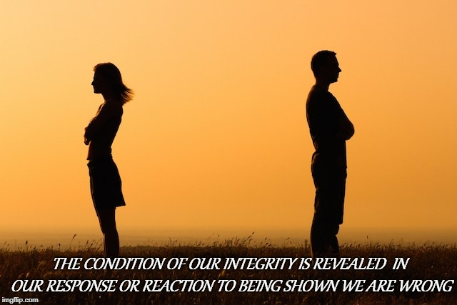 Integrity | THE CONDITION OF OUR INTEGRITY IS REVEALED  IN OUR RESPONSE OR REACTION TO BEING SHOWN WE ARE WRONG | image tagged in integrity,pout,reaction,response | made w/ Imgflip meme maker