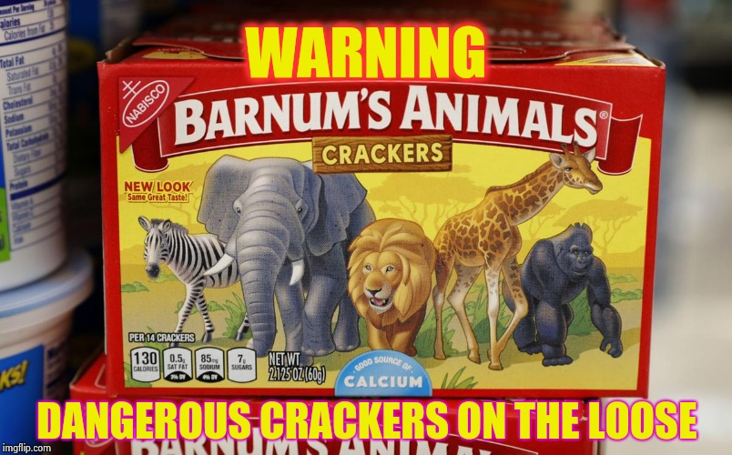 PETA needs to find something to do | WARNING DANGEROUS CRACKERS ON THE LOOSE | image tagged in freedom,crackers,cookies,abuse,peta,protest | made w/ Imgflip meme maker