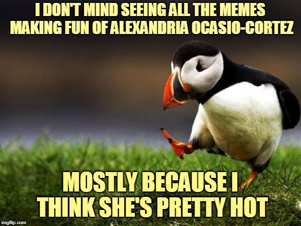So I like looking at pretty girls in memes. Sue me. | I DON'T MIND SEEING ALL THE MEMES MAKING FUN OF ALEXANDRIA OCASIO-CORTEZ MOSTLY BECAUSE I THINK SHE'S PRETTY HOT | image tagged in memes,unpopular opinion puffin,socialism,politics,alexandria ocasio-cortez,hot and crazy | made w/ Imgflip meme maker