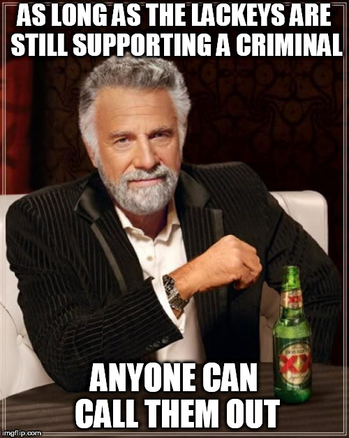 The Most Interesting Man In The World Meme | AS LONG AS THE LACKEYS ARE STILL SUPPORTING A CRIMINAL ANYONE CAN CALL THEM OUT | image tagged in memes,the most interesting man in the world | made w/ Imgflip meme maker