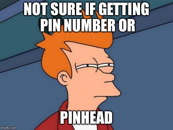 Futurama Fry Meme | NOT SURE IF GETTING PIN NUMBER OR PINHEAD | image tagged in memes,futurama fry | made w/ Imgflip meme maker