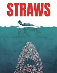 Coming soon to a theater near California | image tagged in straws,jaws,turtle | made w/ Imgflip meme maker