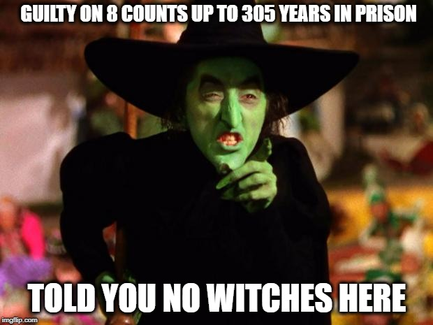 wicked witch  | GUILTY ON 8 COUNTS UP TO 305 YEARS IN PRISON TOLD YOU NO WITCHES HERE | image tagged in wicked witch,memes,politics,donald trump,paul manafort | made w/ Imgflip meme maker