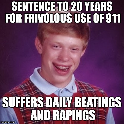 SENTENCE TO 20 YEARS FOR FRIVOLOUS USE OF 911 SUFFERS DAILY BEATINGS AND RAPINGS | made w/ Imgflip meme maker