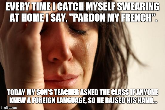 "First World Problems Meme | EVERY TIME I CATCH MYSELF SWEARING AT HOME I SAY, ""PARDON MY FRENCH"". TODAY MY SON'S TEACHER ASKED THE CLASS IF ANYONE KNEW A FOREIGN LANGUA 