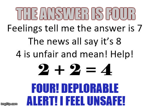 Deplorable Alert! |  THE ANSWER IS FOUR; FOUR! DEPLORABLE ALERT! I FEEL UNSAFE! | image tagged in feelings,math,deplorables | made w/ Imgflip meme maker