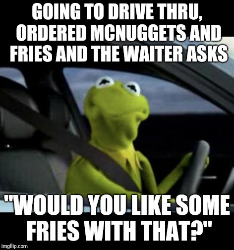 "Kermit Driving |  GOING TO DRIVE THRU, ORDERED MCNUGGETS AND FRIES AND THE WAITER ASKS; ""WOULD YOU LIKE SOME FRIES WITH THAT?"" 