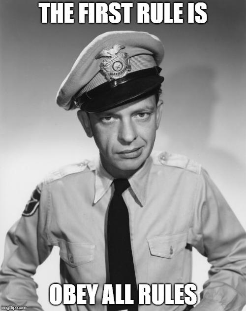 barney fife | THE FIRST RULE IS OBEY ALL RULES | image tagged in barney fife | made w/ Imgflip meme maker