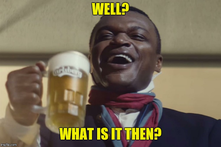 let them drink beer | WELL? WHAT IS IT THEN? | image tagged in let them drink beer | made w/ Imgflip meme maker