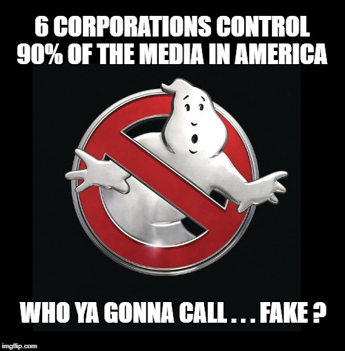 Fake Freedom of the Press | 6 CORPORATIONS CONTROL 90% OF THE MEDIA IN AMERICA WHO YA GONNA CALL . . . FAKE ? | image tagged in what if i told you,fake news,corporatization,mainstream media,followers,follow the money | made w/ Imgflip meme maker