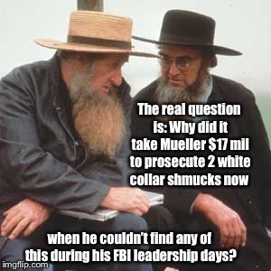 The real question is: Why did it take Mueller $17 mil to prosecute 2 white collar shmucks now when he couldn't find any of this during his F | image tagged in mueller,investigation,past fbi work,high cost,funny memes | made w/ Imgflip meme maker