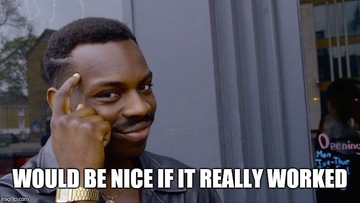 Roll Safe Think About It Meme | WOULD BE NICE IF IT REALLY WORKED | image tagged in memes,roll safe think about it | made w/ Imgflip meme maker