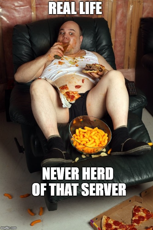 fat man on lazyboy |  REAL LIFE; NEVER HERD OF THAT SERVER | image tagged in fat man on lazyboy | made w/ Imgflip meme maker