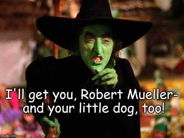 wicked witch  | I'll get you, Robert Mueller- and your little dog, too! | image tagged in wicked witch | made w/ Imgflip meme maker