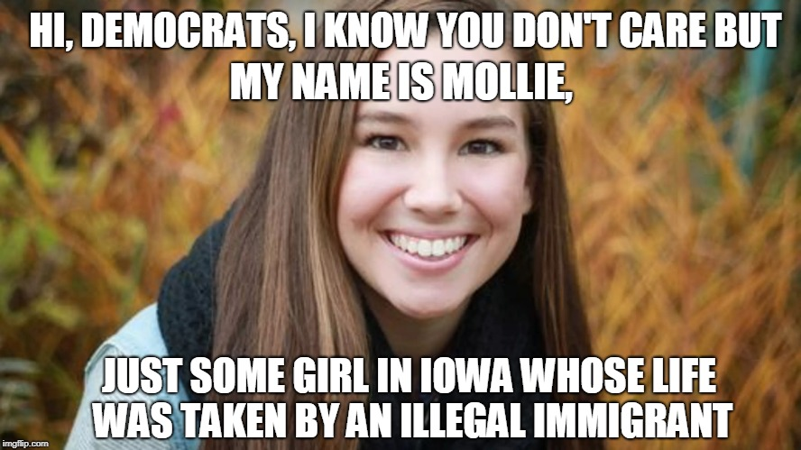 MOLLIE, SOME GIRL IN IOWA |  HI, DEMOCRATS, I KNOW YOU DON'T CARE BUT; MY NAME IS MOLLIE, JUST SOME GIRL IN IOWA WHOSE LIFE WAS TAKEN BY AN ILLEGAL IMMIGRANT | image tagged in build a wall,illegal immigration,liberal hypocrisy | made w/ Imgflip meme maker