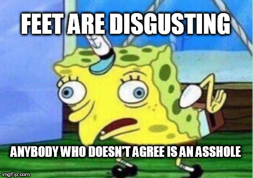 Mocking Spongebob | FEET ARE DISGUSTING ANYBODY WHO DOESN'T AGREE IS AN ASSHOLE | image tagged in memes,mocking spongebob,foot,feet,foot fetish,fetish | made w/ Imgflip meme maker