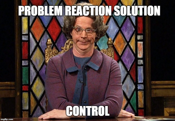 PROBLEM REACTION SOLUTION CONTROL | image tagged in the church lady,problem,reaction,solution,illuminati confirmed,control | made w/ Imgflip meme maker