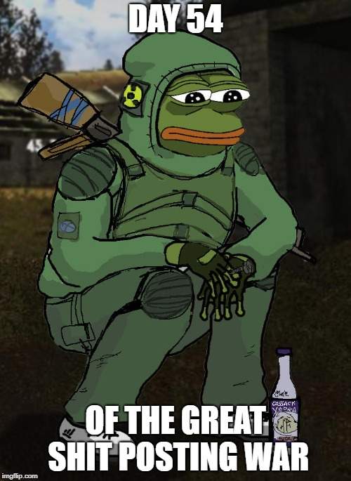 Soldier pepe | DAY 54 OF THE GREAT SHIT POSTING WAR | image tagged in soldier pepe,memes,4chan,shitpost,pepe the frog,sad pepe the frog | made w/ Imgflip meme maker