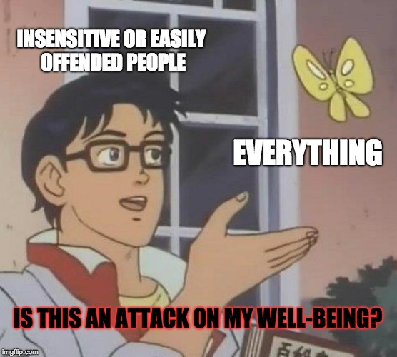 When People are Insensitive | INSENSITIVE OR EASILY OFFENDED PEOPLE EVERYTHING IS THIS AN ATTACK ON MY WELL-BEING? | image tagged in memes,is this a pigeon,everything,attack,offensive | made w/ Imgflip meme maker