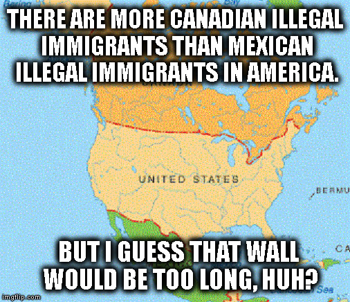 Trump supporters are unbelievably ignorant. | THERE ARE MORE CANADIAN ILLEGAL IMMIGRANTS THAN MEXICAN ILLEGAL IMMIGRANTS IN AMERICA. BUT I GUESS THAT WALL WOULD BE TOO LONG, HUH? | image tagged in trump,border wall,mexico,immigrant,illegal immigration,canada | made w/ Imgflip meme maker