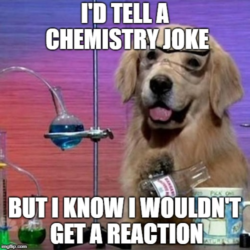 I Have No Idea What I Am Doing Dog | I'D TELL A CHEMISTRY JOKE BUT I KNOW I WOULDN'T GET A REACTION | image tagged in memes,i have no idea what i am doing dog | made w/ Imgflip meme maker