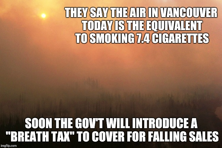 "Another Sunny Day in Vancouver | THEY SAY THE AIR IN VANCOUVER TODAY IS THE EQUIVALENT TO SMOKING 7.4 CIGARETTES SOON THE GOV'T WILL INTRODUCE A ""BREATH TAX"" TO COVER FOR FA 