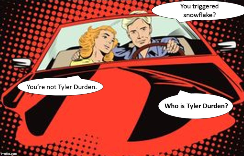 Who is Tyler Durden | image tagged in politics,political meme,satire,triggered liberal,liberal vs conservative,snowflake | made w/ Imgflip meme maker