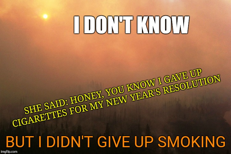 Another Sunny Day in Vancouver | I DON'T KNOW BUT I DIDN'T GIVE UP SMOKING SHE SAID: HONEY, YOU KNOW I GAVE UP CIGARETTES FOR MY NEW YEAR'S RESOLUTION | image tagged in blues brothers,willie mabon,smoking,vancouver,i don't know,wildfires | made w/ Imgflip meme maker